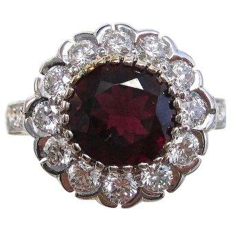 Natural Rubellite & Diamond Estate Engagement Anniversary Birthstone Halo Ring 18K