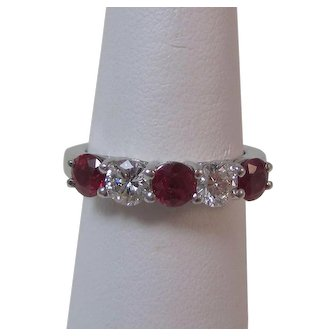 Estate Ruby & Diamond Wedding Anniversary Birthstone Band Ring Platinum