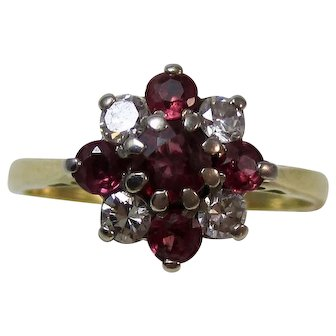 Vintage Estate Ruby & Diamond Birthstone Engagement Art Deco Ring 18K