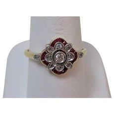 Antique Edwardian Natural Ruby & Rose Cut Diamond Engagement/Wedding/Birthstone Ring 18K
