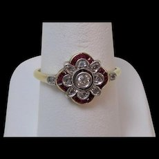 Antique Edwardian Natural Ruby & Rose Cut Diamond Engagement/Wedding/Birthstone Ring 18K