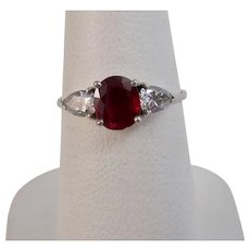 Estate 1960's Natural Ruby & Diamond Engagement, Birthstone  Ring