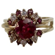 Natural Ruby & Diamond Birthstone Wedding Day  Ring 14K