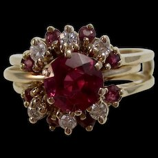 Natural Ruby & Diamond Birthstone Wedding Day  Ring 14K