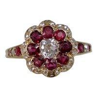 Vintage Estate 1920's Art Deco Ruby & Diamond Floral Engagement Birthstone Ring 14K