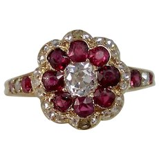 Vintage Estate 1920's Art Deco Ruby & Diamond Floral Engagement Birthstone Ring 14K