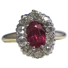Antique Victorian Natural Ruby & Diamond Engagement Birthstone Ring 14K