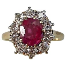Vintage Estate Art Deco Ruby & Diamond Engagement Wedding Birthstone Ring 14K