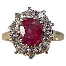 Vintage Estate Art Deco Ruby & Diamond Engagement Wedding Birthstone Ring 14K
