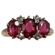 Antique Edwardian 1905 Natural Ruby & Diamond Engagement Birthstone Ring 14K