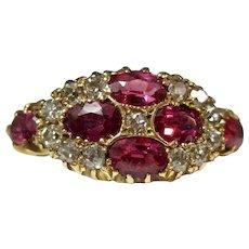 Antique Victorian Natural Ruby Diamond Engagement Wedding Birthstone Ring
