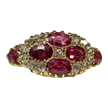 Antique English Victorian Natural Ruby Diamond Engagement Ring 15K