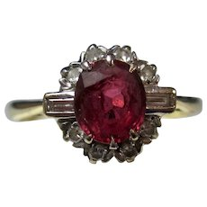 Vintage Estate Art Deco Ruby & Diamond Ring 18K