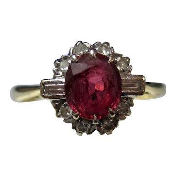 Vintage Estate Art Deco Ruby & Diamond Ring 18K