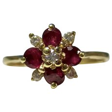 Estate Natural Ruby & Diamond Floral Ring 14K