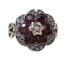Very Rare Antique Georgian Engagement Birthstone Ruby & Diamond Ring