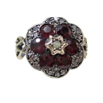 Very Rare Antique Georgian Engagement Birthstone Ruby & Diamond Ring