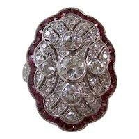 Estate Art Deco Diamond & Ruby Engagement Cocktail Ring Platinum