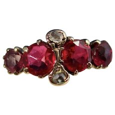 Antique Victorian Estate Ruby Diamond Ring 14K