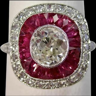 Vintage Estate Art Deco Ruby & Diamond Engagement Wedding Ring Platinum