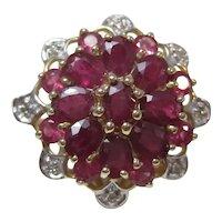 Vintage Estate Natural Ruby Diamond Ring 14K