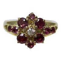 Vintage Estate Natural Ruby & Diamond Flower Ring 14K