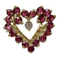 Vintage Estate Ruby Diamond Heart July Birthstone Ring 14K