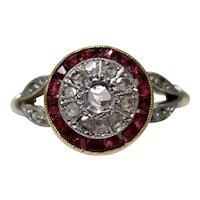 Antique Art Deco C.1920 Diamond Ruby Ring 18K/Platinum