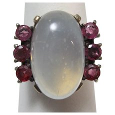 Vintage Estate Moonstone & Ruby Ring 14K