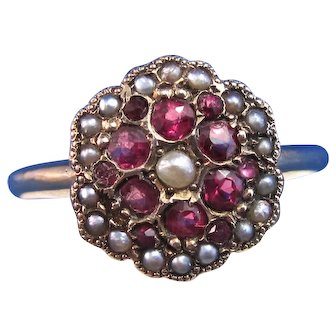 Antique Victorian Natural Ruby & Freshwater Cultured Pearl Birthstone Anniversary Yellow Gold Cluster Floral Ring