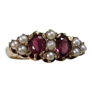 Antique Estate Edwardian Natural Ruby & Pearl Ring