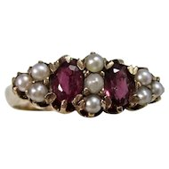 Estate Edwardian Antique Natural Ruby & Pearl Engagement Anniversary Birthstone Ring
