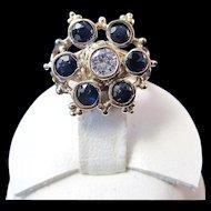 Sapphire & Diamond Antique Victorian Engagement Wedding Birthstone Ring 14K