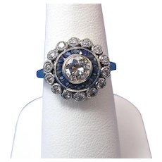 Estate Art Deco Sapphire & Diamond Engagement Wedding Birthstone Halo Ring 18K