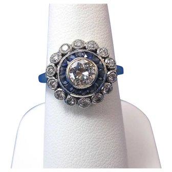 Estate Art Deco Sapphire & Diamond Engagement Wedding Birthstone Halo Ring 18K