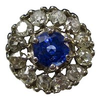 Art Deco Natural Sapphire Diamond Engagement Ring 14K