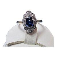 Art Deco Natural Sapphire Diamond Ring 14K