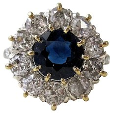 Art Deco 1930's Estate Natural Sapphire & Diamond Engagement Wedding Birthstone Halo Ring Platinum 14K