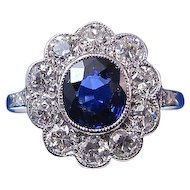 Antique Edwardian 1905 Sapphire & Diamond Halo Engagement Birthstone Wedding Day Anniversary Ring Platinum