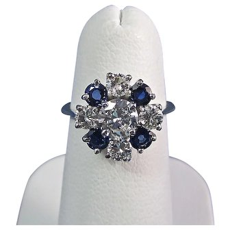 Diamond Natural Sapphire Estate Engagement Wedding Birthstone Ring Platinum