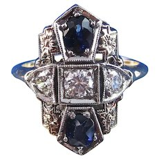 Vintage Estate Art Deco Sapphire & Diamond Floral Engagement Wedding Birthstone Ring 14K