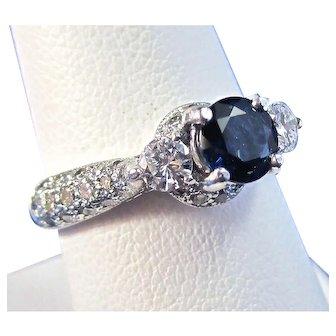 Natural Sapphire & Diamond Estate Engagement Birthstone Ring Platinum