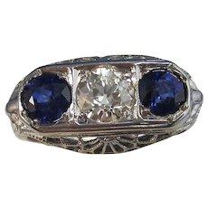 Art Deco 1930's Vintage Sapphire & VS Diamond Engagement Wedding Birthstone Ring 18K