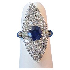 Art Deco 1930's Sapphire & Diamond Engagement Wedding Birthstone Ring 14K