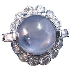Natural Star Sapphire & Diamond Estate Engagement Wedding Birthstone Halo Ring Palladium