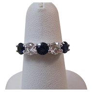 Natural Sapphire & VS Diamond Estate Engagement Birthstone Wedding Ring Platinum