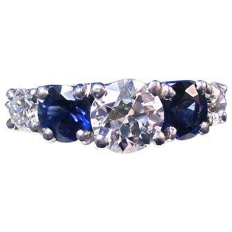 Natural Sapphire & Diamond Estate 1950's Wedding Engagement Birthstone Ring Platinum
