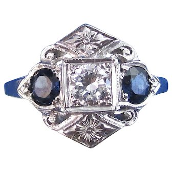 Art Deco Natural Sapphire & Diamond Engagement Wedding Birthstone Anniversary Three Stone Estate Ring 14K White Gold