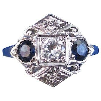 Art Deco Natural Sapphire & Diamond Engagement Wedding Birthstone Anniversary Three Stone Estate Ring 14K White Gold