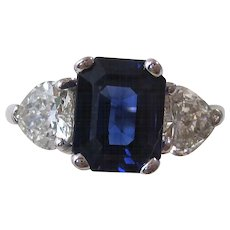 Natural Sapphire Heart Diamond Estate Engagement Wedding Birthstone Ring 18K